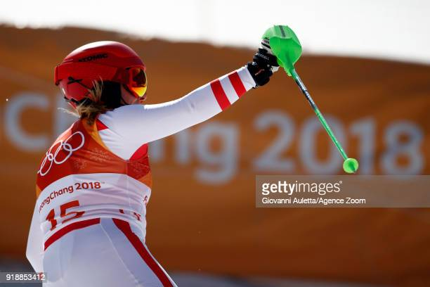 Katharina Gallhuber of Austria wins the bronze medal during the Alpine Skiing Women's Slalom at Yongpyong Alpine Centre on February 16 2018 in...
