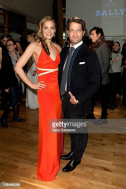 Katharina Harf Cofounder and Exec VP of DKMS and Nate Berkus attend Bally Spring 2011 Collection Preview To Benefit DKMS at the Bally Boutique on...
