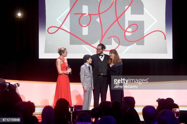 Katharina Harf Ezra Miller Luis Miranda and Cynthia Lowry onstage at 11th Annual DKMS 'BIG LOVE' Gala on April 27 2017 in New York City
