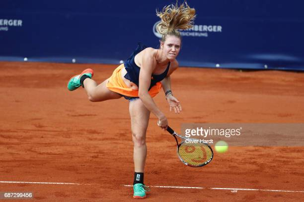 Katharina Hobgarski of Germany in action against Laura Siegemund of Germany in the first round during the WTA Nuernberger Versicherungscup on May 23...