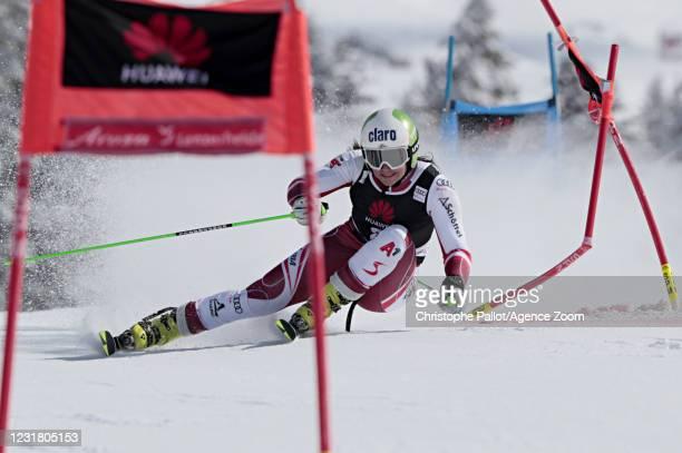 Katharina Huber of Austria in action during the Audi FIS Alpine Ski World Cup Team Parallel Slalom on March 19, 2021 in Lenzerheide, Switzerland.