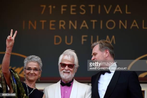 Katharina Kubrick, daughter of British director Stanley Kubrick, German-US producer Jan Harlan and British director Christopher Nolan pose as they...