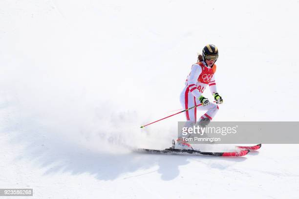 Katharina Liensberger of Austria finishes during the Alpine Team Event Big Final on day 15 of the PyeongChang 2018 Winter Olympic Games at Yongpyong...