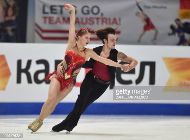 Katharina Mueller and Tim Dieck of Germany perform in the pairs Ice Dance Rhythm Dance event of the ISU European Figure Skating Championships at the...