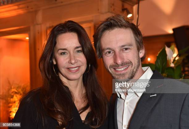 Katharina MuellerElmau and Ben Blaskovic during the 40th anniversary celebration of the ZDF TV series SOKO Munich at Seehaus on February 24 2018 in...