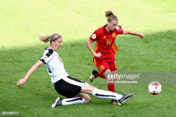 Katharina Schiechtl of Austria tackles Barbara Latorre of Spain during the UEFA Women's Euro 2017 Quarter Final match between Austria and Spain at...
