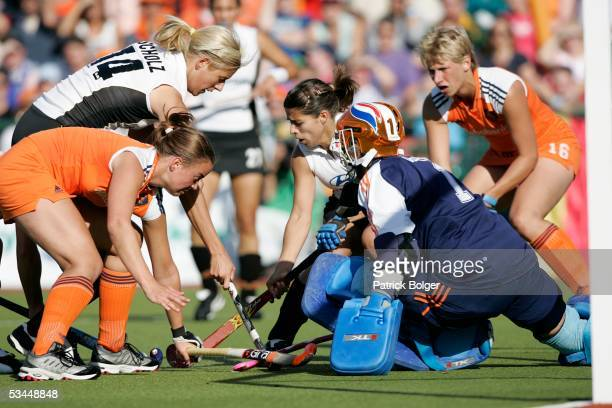 Katharina Scholz and Silke Muller of Germay with Maartje Paumen and LIsanne De roever of Netherlands during the 7th Women's European Nations...