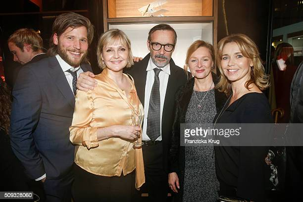 Katharina Schubert Michael Roll Marita Marschall and Tina Ruland attend the Montblanc House Opening on February 09 2016 in Hamburg Germany