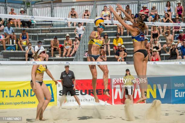 June 9: Katharina Schuetzenhoefer of Austria and Lena Plesiutschnig of Austria attacks in the Quarterfinals against Taylor Pischke of Canada and...