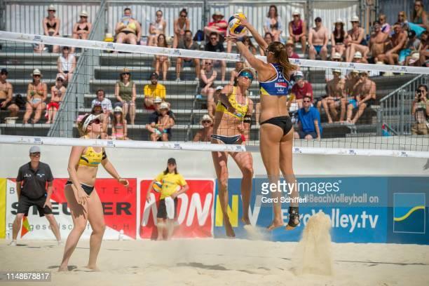 June 9: Katharina Schuetzenhoefer of Austria and Lena Plesiutschnig of Austria in the Quarterfinals against Taylor Pischke of Canada and Sophie...