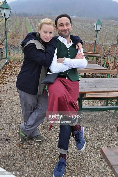 Katharina Strasser and Deniz Cooper pose during the 'Herrgott fuer Anfaenger' set visit in Vienna at Heuriger Sirbu on November 23 2016 in Vienna...