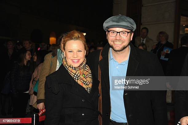 Katharina Strasser and Thomas Stipsits pose for a photograph during the 'Mama Mia' musical premiere at Raimund Theater on March 19 2014 in Vienna...