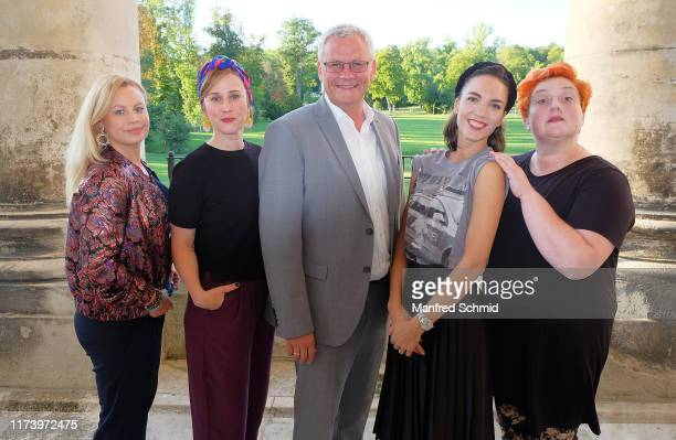 Katharina Strasser, Marlene Morreis, Thomas Steiner, Maddalena Hirschal and Veronika Polly pose during the 'Curling For Eisenstadt' pre-premiere at...