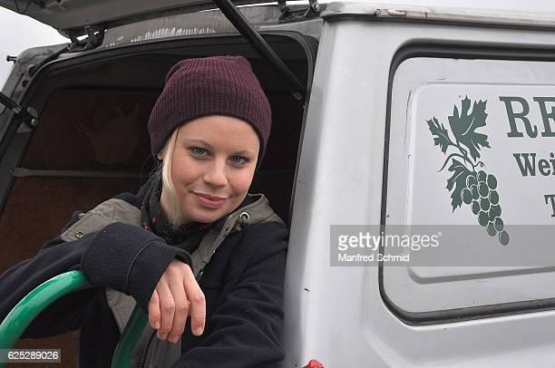 Katharina Strasser poses during the 'Herrgott fuer Anfaenger' set visit in Vienna at Heuriger Sirbu on November 23 2016 in Vienna Austria