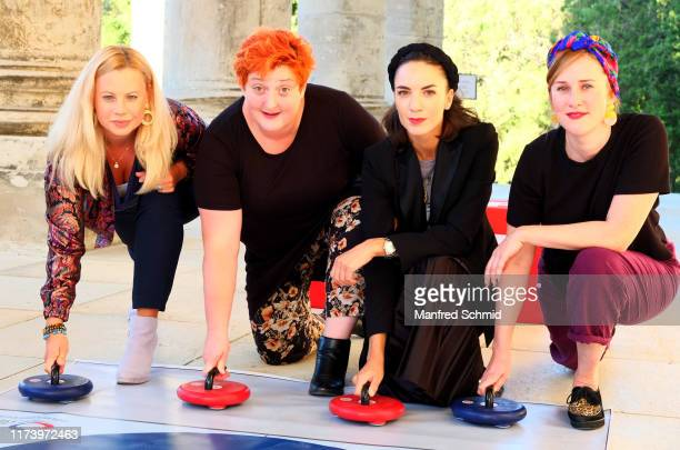 Katharina Strasser, Veronika Polly, Maddalena Hirschal and Marlene Morreis pose during the 'Curling For Eisenstadt' pre-premiere at Schloss Esterhazy...