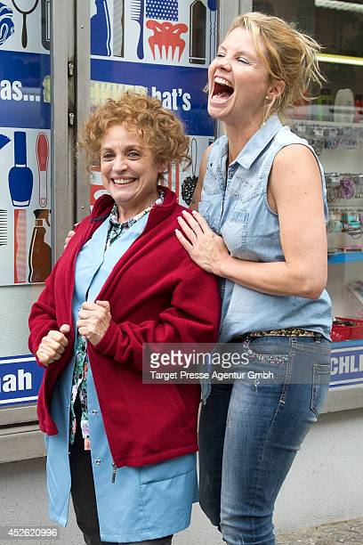 Katharina Thalbach and Annette Frier attend the 'Die Schlikkerfrauen' photocall at the movie set on July 24 2014 in Berlin Germany