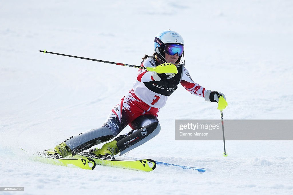 Katharina Truppe of Austria competes in the Alpine Slalom - FIS Australia New Zealand Cup during the Winter Games NZ at Coronet Peak on August 29, 2015 in Queenstown, New Zealand.