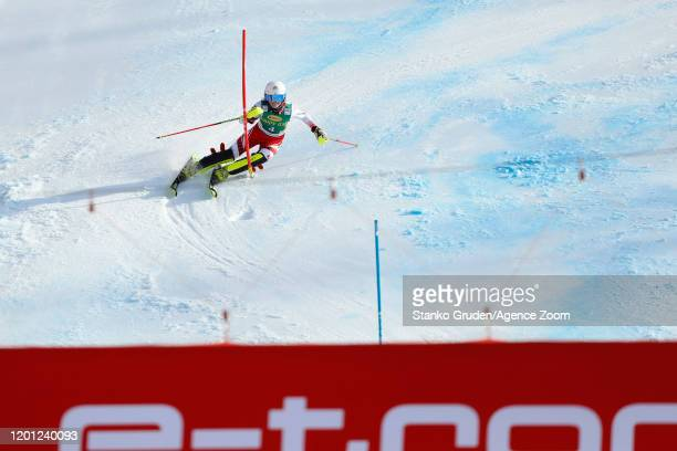 Katharina Truppe of Austria in action during the Audi FIS Alpine Ski World Cup Women's Slalom on February 16, 2020 in Kranjska Gora Slovenia.