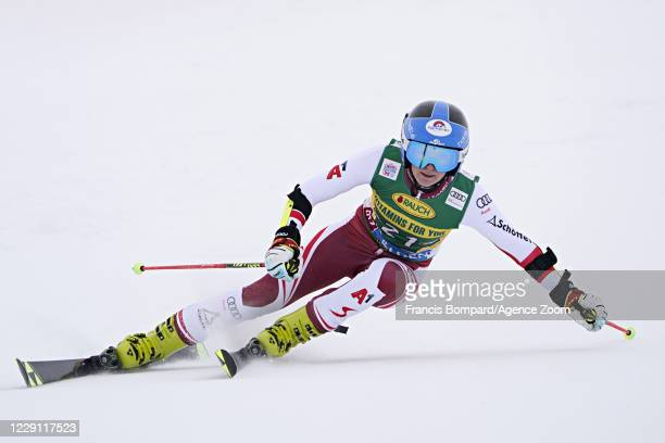 Katharina Truppe of Austria in action during the Audi FIS Alpine Ski World Cup Women's Giant Slalom on October 17, 2020 in Soelden, Austria.