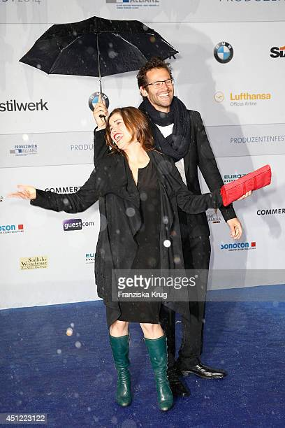 Katharina Wackernagel and Jonas Grosch attend the producer party 2014 of the Alliance German Producer Cinema And Television on June 25 2014 in Berlin...