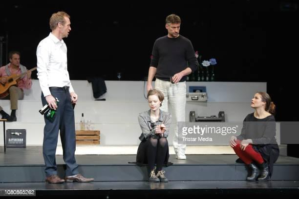 Katharina Wackernagel Emma Bading Stephan Kampwirth Benjamin Sadler during the theatre play 'Westend' press rehearsal at Kammerspiele on January 11...