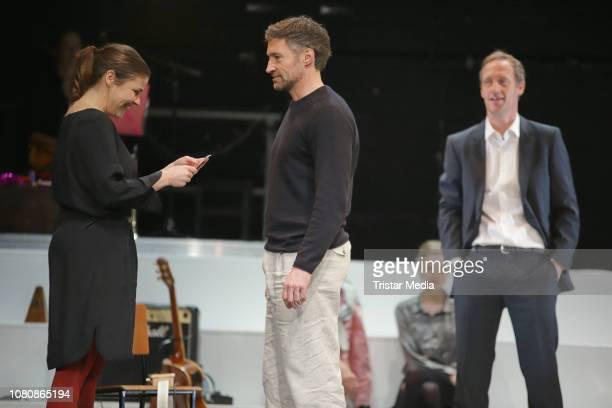 Katharina Wackernagel Stephan Kampwirth Benjamin Sadler during the theatre play 'Westend' press rehearsal at Kammerspiele on January 11 2019 in...