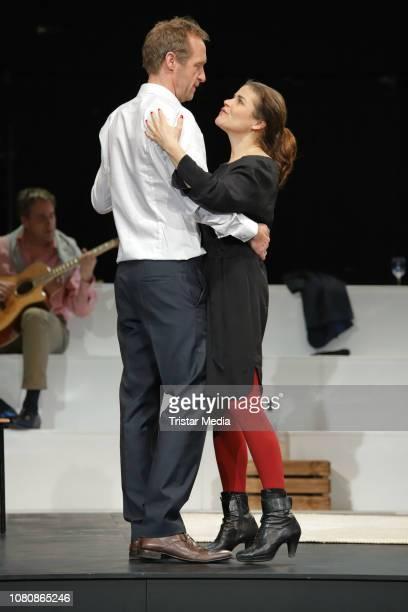 Katharina Wackernagel Stephan Kampwirth during the theatre play 'Westend' press rehearsal at Kammerspiele on January 11 2019 in Hamburg Germany