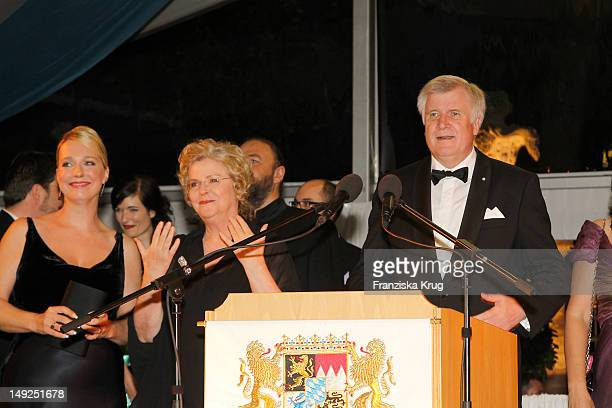 Katharina Wagner and Eva WagnerPasquier and Horst Seehofer attend the reception of the Bavarian state governor after the Bayreuth festival 2011...
