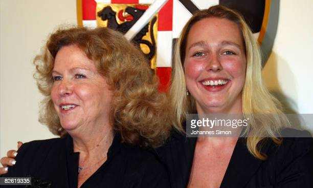 Katharina Wagner and her sister Eva WagnerPasquier poses after a press conference at the Bayreuth townhall on September 1 2008 in Bayreuth Germany A...