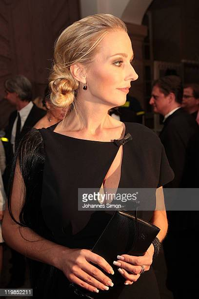 Katharina Wagner arrives for the reception of the Bavarian state governor after the Bayreuth festival 2011 premiere on July 25 2011 in Bayreuth...