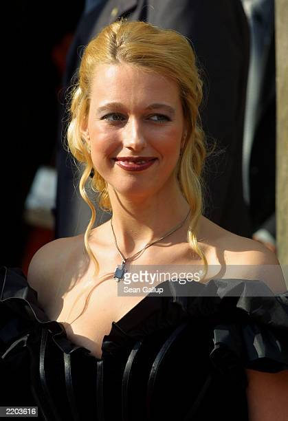 Katharina Wagner daughter of Wolfgang Wagner general director of the Bayreuth Festival arrives at the opening day of the 2003 festival July 25 2003...