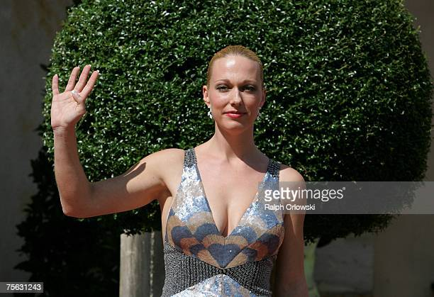 Katharina Wagner daughter of Wolfgang Wagner the General Director of the Richard Wagner Festival arrives for the festival July 25 2007 in Bayreuth...