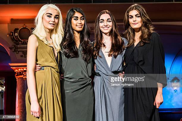 Katharina Wandrowsky Anuthida Ploypetch Ajsa Selimovic and Vanessa Fuchs pose during a photo call for the tv show 'Germany's Next Topmodel' on May 10...