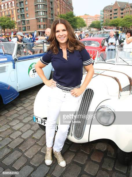 Katharina Witt during the first day of the Hamburg-Berlin Klassik Rallye on August 24, 2017 in Hamburg, Germany.