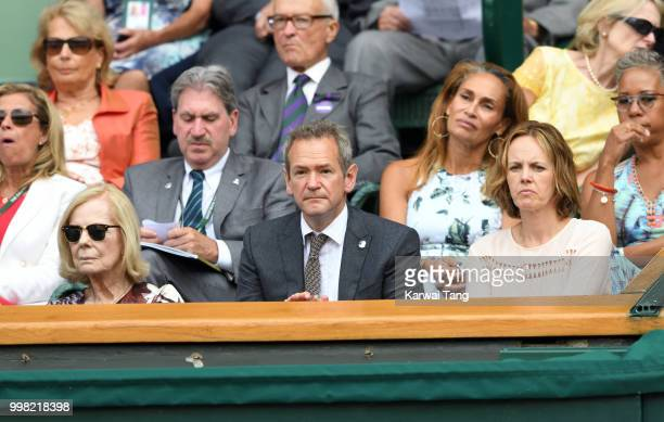 Katharine Duchess of Kent Alexander Armstrong and Hannah Armstrong attend day eleven of the Wimbledon Tennis Championships at the All England Lawn...
