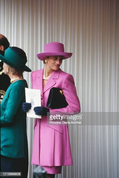 Katharine, Duchess of Kent and Diana, Princess of Wales , wearing a pink wool suit by Catherine Walker, with dark gloves and hat by Philip...