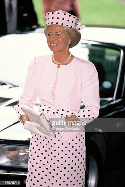 Katharine Duchess of Kent attends the wedding of James Ogilvy and Julia Rawlinson at St Mary The Virgin Church on July 30 1988 in Saffron Walden...