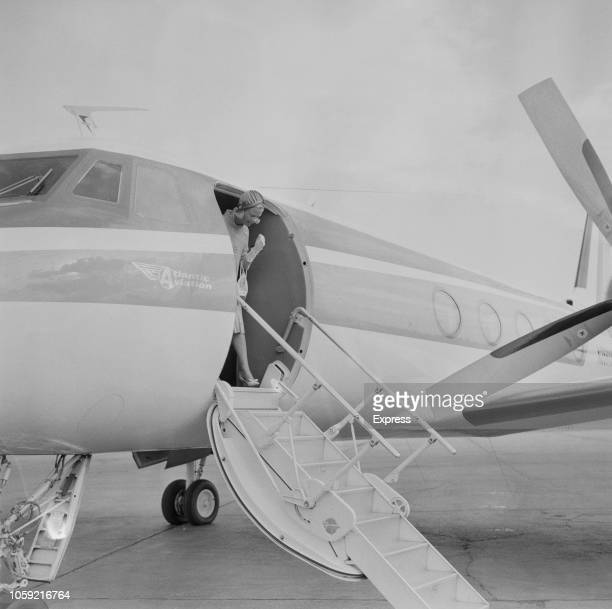 Katharine, Duchess of Kent, getting off a private jet upon her return from a trip to Mallorca with her husband , Prince Edward, Duke of Kent,...