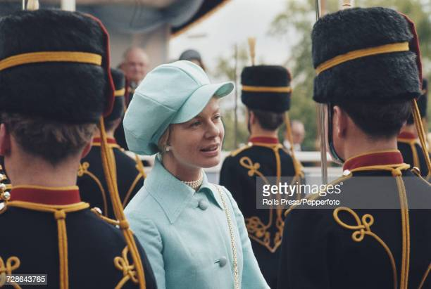Katharine, Duchess of Kent pictured partaking in a ceremonial British Army regimental inspection in London in 1971.