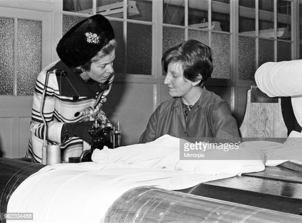 Katharine Duchess of Kent visits the Courtaulds factory in Wolverhampton 14th February 1968