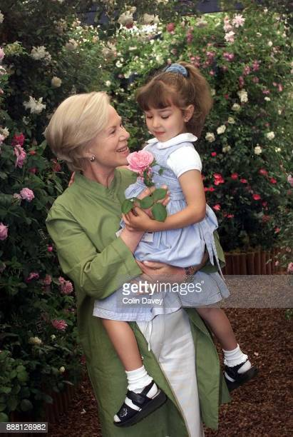 Katharine, Duchess of Kentt with Bliss Daniels who had a rose named after her, at the Chelsea Flower Show, London, 22nd May 2000.
