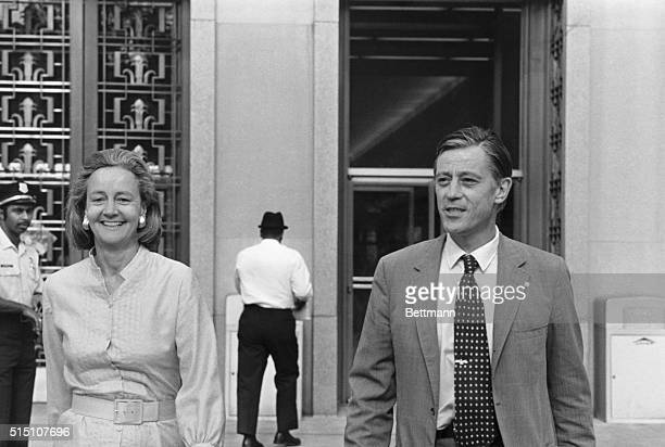 Katharine Graham, publisher of The Washington Post, and Ben Bradlee, executive editor of The Washington Post, leave U.S. District Court in...