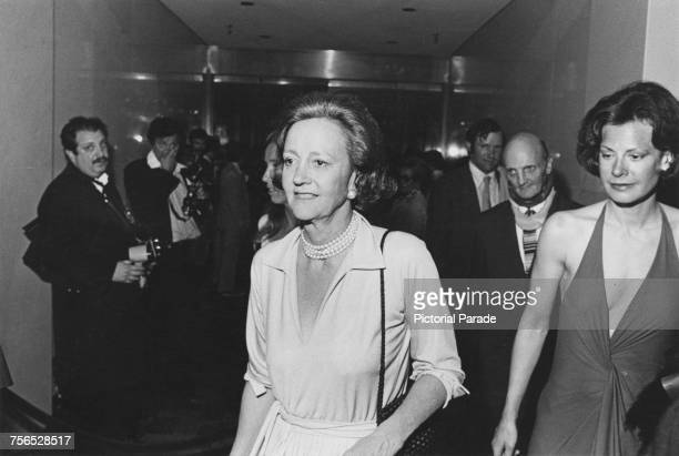 Katharine Graham publisher of the Washington Post newspaper at the Kennedy Center in Washington DC for the premiere of Alan J Pakula's political...