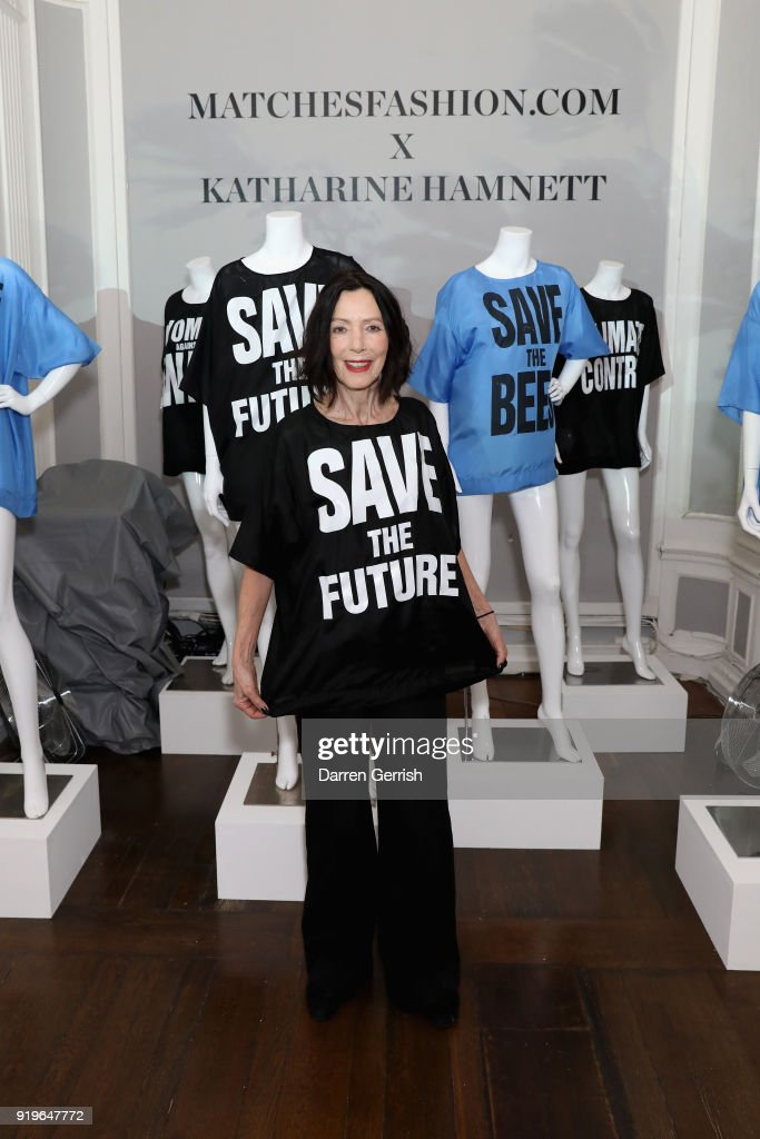Katharine Hamnett attends the MATCHESFASHION.COM X KATHARINE HAMNETT LFW SS18 event at ICA on February 17, 2018 in London, England.