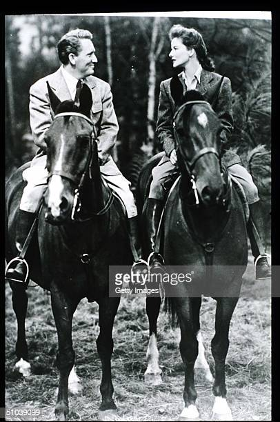 Katharine Hepburn And Actor Spencer Tracy Ride Horses In USA Actress Hepburn Won Four Of Twelve Oscar Nominations For Best Actress And Starred In...