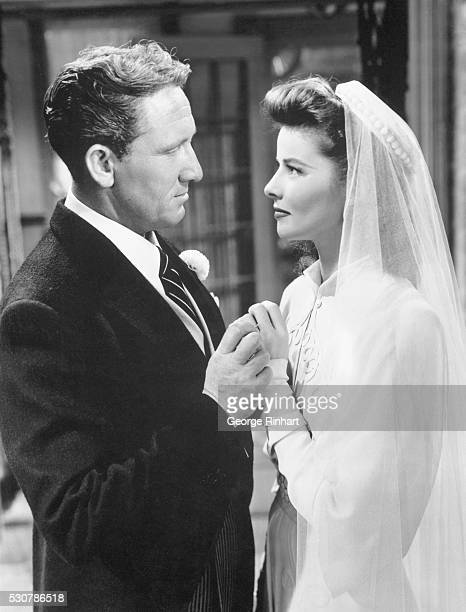 Katharine Hepburn and Spencer Tracy in wedding clothes in Woman of the Year