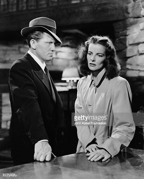 Katharine Hepburn as Christine Forrest and Spencer Tracy as the journalist Steve O'Malley in the MGM film 'Keeper of the Flame' directed by George...