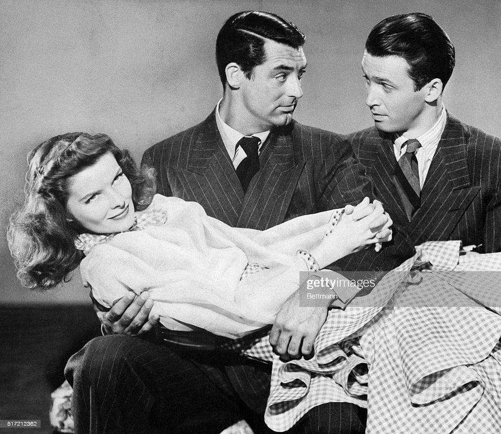 Cary Grant, James Stewart, and Katharine Hepburn in the 1940 film The Philadelphia Story : Nachrichtenfoto