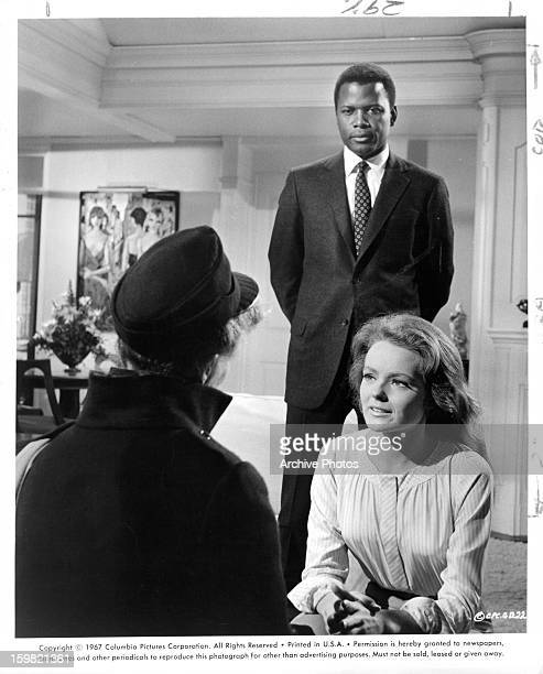Katharine Hepburn gets a surprise announcement when her daughter Katharine Houghton brings home Sidney Poitier in a scene from the film 'Guess Who's...