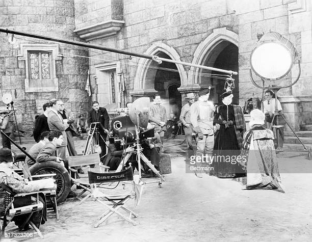 Katharine Hepburn portrays Mary Stuart on the set of the 1936 film Mary of Scotland Frederic March appears as the Earl of Bothwell and Paul...